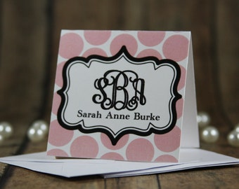 Monogrammed Pink Polka Dot Gift Enclosure Cards with Envelopes