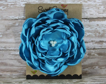 30 Colors Large Satin Flower Pin, Turquoise Satin Flower Pin