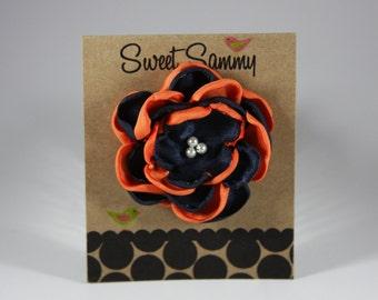 Small Auburn Satin Flower Hair Clip in Navy and Orange
