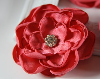 Wedding Satin Flower Hair Clip in Coral with Crystals