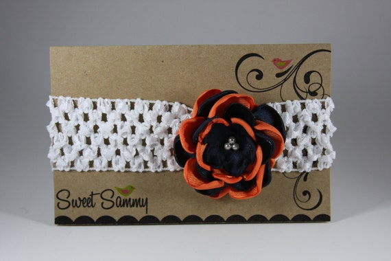 White Headband with Handmade Auburn Satin Flower Clip for Babies and Toddlers