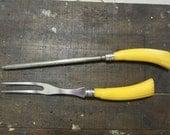 Vintage Meat Fork and Knife Sharpener Yellow Bakelite