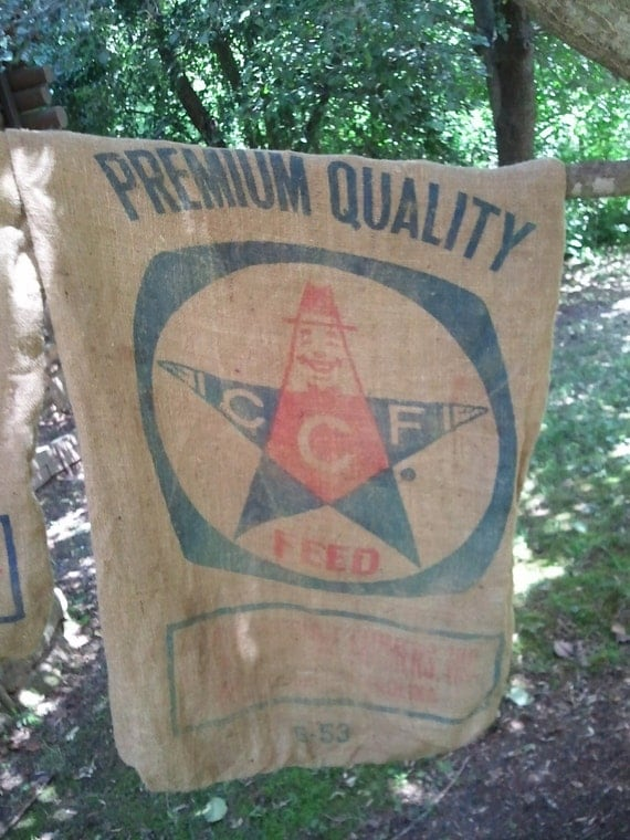 Old Burlap Feed Sacks from Durham NC with CCF Star logo (2 included in each order)