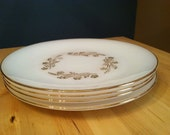 Dinner Plates Vintage Dinnerware Milkglass Plates Federal Gold Rimmed Shipping Included