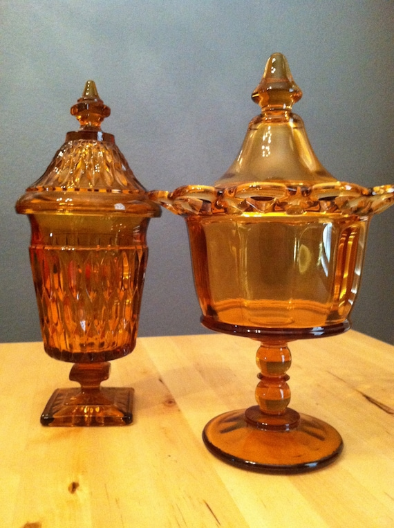 Vintage Amber Glass Candy Dish Compote
