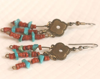 Vintage Turquoise Dangle Pierced Earrings