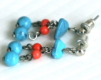 VINTAGE Faux Turquoise and Coral Dangle Earrings