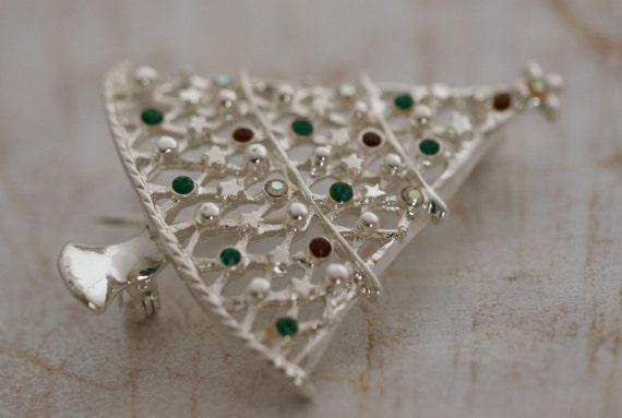 Vintage Silver and Rhinestone Christmas Tree Brooch Pin