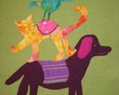 """Wacky Stack of Friends wool-on-wool appliqué pattern 14"""" x 22"""""""