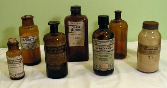 Vintage Old Large Amber Bottles