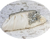ALIZA - Exquisite Ivory Satin Rhinestone Crystal Wedding Clutch, Rrhinestone Bridal Clutch, Bridal Purse