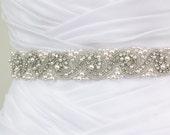 Best Seller - LAURA - Bridal Crystal Rhinestone And Pearls Sash, Rhinestone Bridal Belt, Wedding Beaded Sash, Rhinestone Wedding Belts