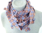 UNISEX Orange Plaid Cowl