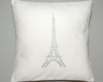 Silver Paris Eiffel Tower Printed on White Canvas Fabric Pillow