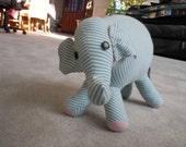 Blue/White Striped Stuffed Elephant