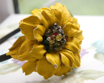 Yellow Leather Flower Headband art.8V4R02