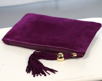 Purple Suede Clutch with Tassel art.S64R41
