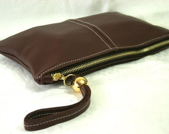 Brown Leather Clutch art.S70R61