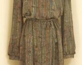 1980's Black Patterned Plus Size Secretary Dress