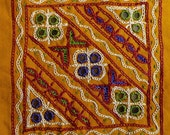 Quilt Patch - Yellow hand embroidered sew on patch with mirrors in kutch work style