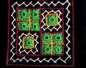 Quilt Patch - Black hand embroidered sew on patch with mirrors in kutch work style
