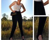 On SALE  Vintage Navy Velvet Stirrup Pants