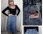 On SALE  Stone Wash Denim A-Line Skirt