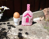Pink Spotty Egg Cosy with Beach Hut  Applique