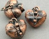 Prayer Boxes Heart shape Brass Lockets Antique Copper 2pcs 13X17X23mm CK0022H
