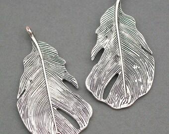 SALE Feather Charms Antique Silver 4pcs zinc alloy pendant beads 25X47mm CM0014S