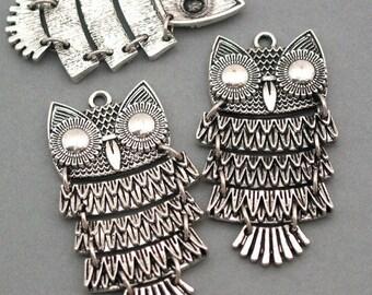 Owl Charms Antique Silver tone 2pcs base metal Charms 25X48mm CM0001S
