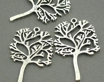 Tree Charms Antique Silver tone 2pcs base metal Charms 29X44mm CM0062S