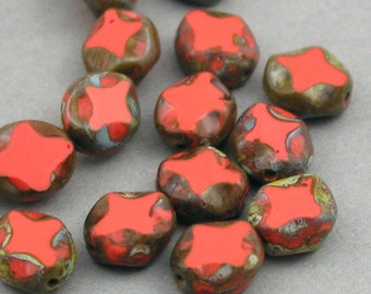 Czech Glass Beads 10pcs coral red green Picasso 8X9mm JB11008