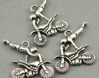 Motor Rider Charms Antique Silver tone 6pcs base metal Charms 21X23mm CM0147S