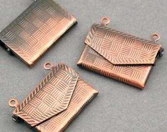 Purse Lockets Prayer Boxes Antique Bronze tone 4pcs base metal 17X22mm CK0004H