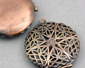 Filigree Round Lockets Antique Bronze tone 2pcs base metal Charms 27mm CK0001H