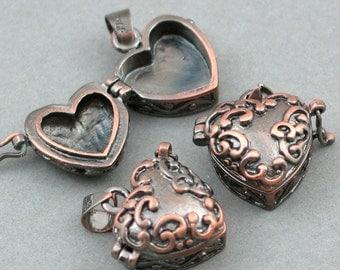 Brass Heart shape Prayer Boxes lockets Antique Copper 2pcs 18X10X24mm CK0015H