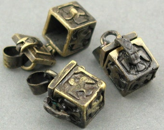Prayer Boxes Cubic Lockets Antique Brass tone 2pcs 9X14X20mm CK0019B