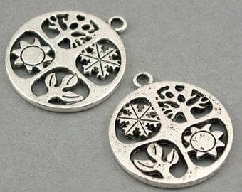 Four Seasons Disc Charms Antique Silver tone 4pcs base metal Charms 24mm CM0181S