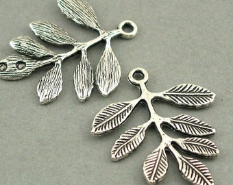 Leaf Charms Antique Silver tone 6pcs base metal Charms 26X32mm CM0189S