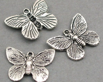 Butterfly Charms Antique Silver 8pcs pendant beads 15X18mm CM0212S