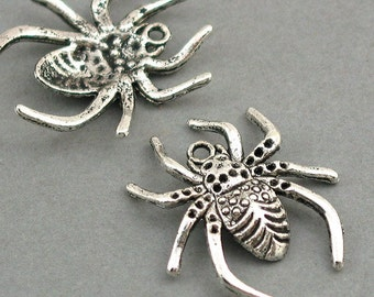 Spider Charms Antique Silver tone 6pcs base metal Charms 25X28mm CM0215S