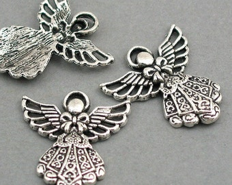 Angel Charms Fairy charms Antique Silver tone 6pcs base metal Charms 23X25mm CM0217S