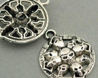 Skull Pendant Charms Antique Silver tone 2pcs base metal Charms 27X33mm CM0224S