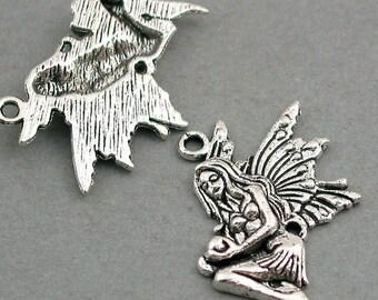 Fairy Charms Antique Silver tone 4pcs base metal Charms 21X29mm CM0232S