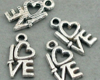 Love Heart Charms Antique Silver 16pcs pendant beads 8X14mm CM0240S