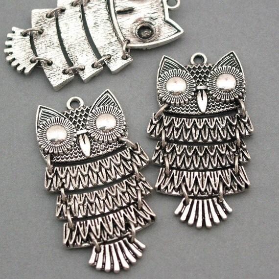 Owl Charms Antique Silver 2pcs pendant beads 25X48mm CM0001S