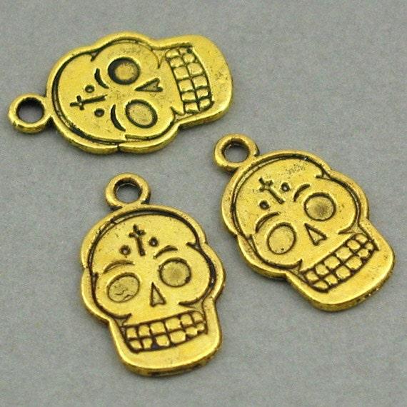 Skull Charms Antique Gold 10pcs pendant beads 13X20mm CM0165G