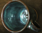 Extra Large Stoneware Coffee Mug - Texture Autumn Glaze (Blue and Red-brown)