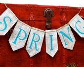 SPRING BANNER - SPRING burlap banner - Burlap Banner - Easter Banner